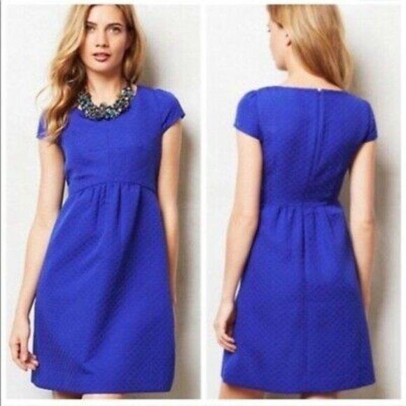 HD in Paris Anthropologie Royal Blue Cap Sleeve Sheath Career Formal Dress